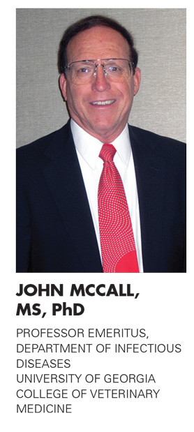 JOHN MCCALL, MS, PhD, PROFESSOR EMERITUS, DEPARTMENT OF INFECTIOUS DISEASES, UNIVERSITY OF GEORGIA, COLLEGE OF VETERINARY MEDICINE