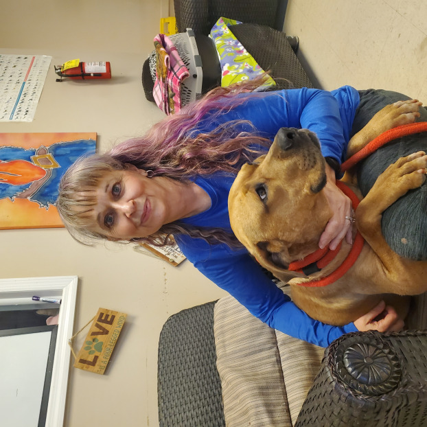 Ruth Olsen and Smiles, a Humane Society resident who is being treated for heartworms